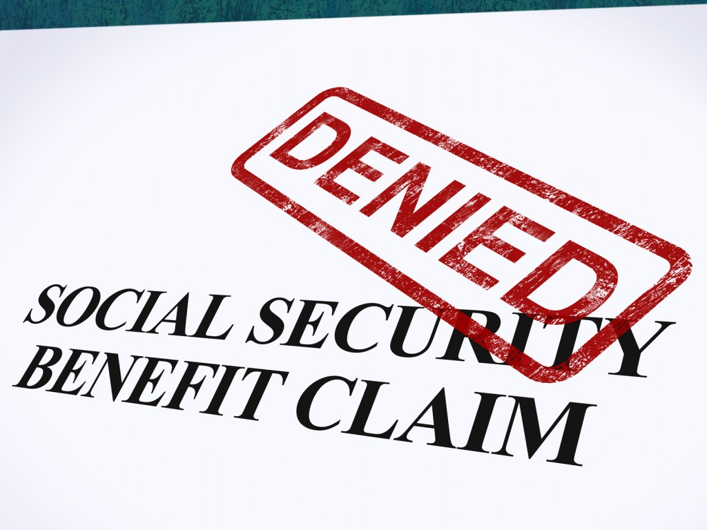 Denied stamped on a social security benefit claim