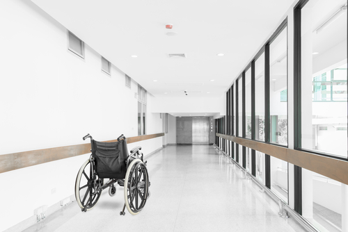 A wheelchair at hospital corridor