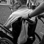 A senior sitting on wheelchair