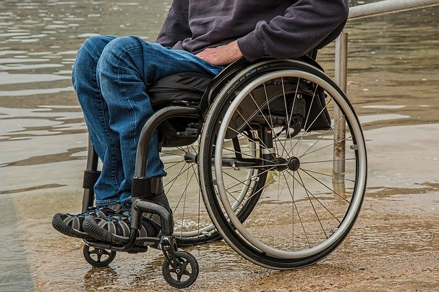 Disabled man in wheelchair