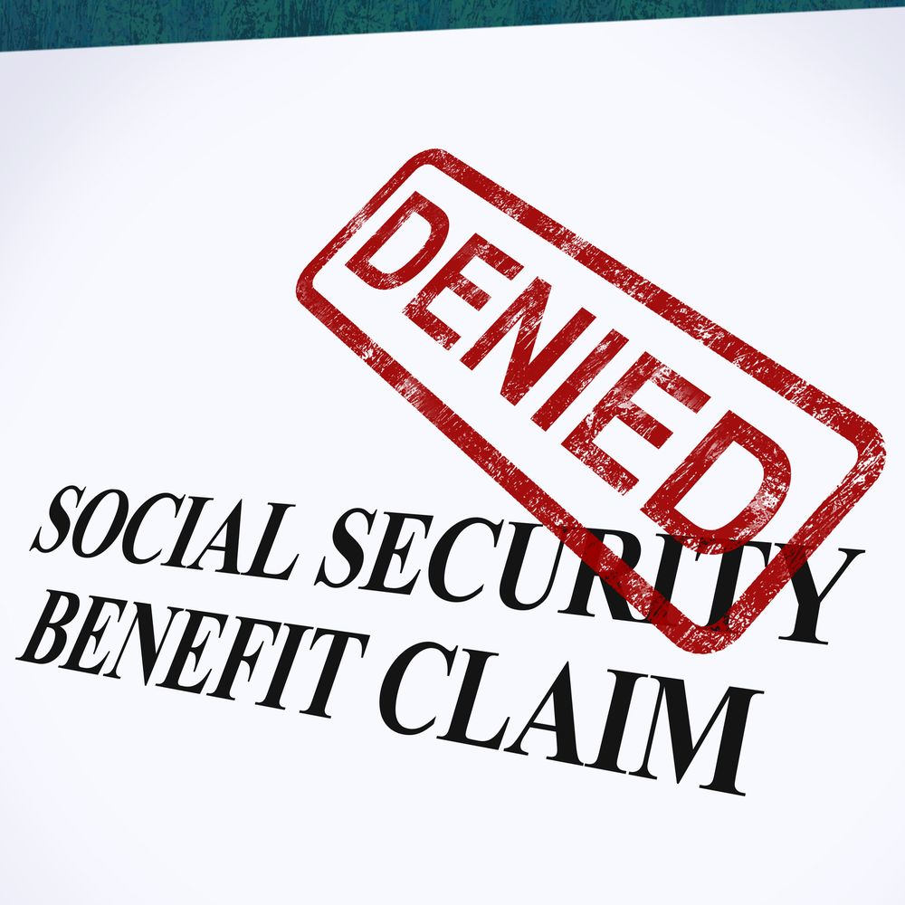 Social security benefit claim with a denied stamp