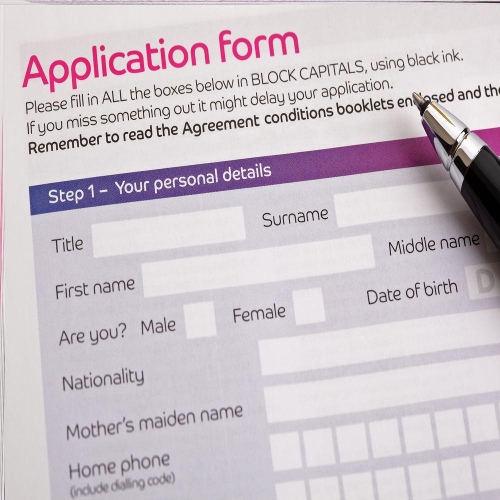 Application form with a pen